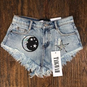 Gorgeous Sequin Patch Denim Shorts NWT!
